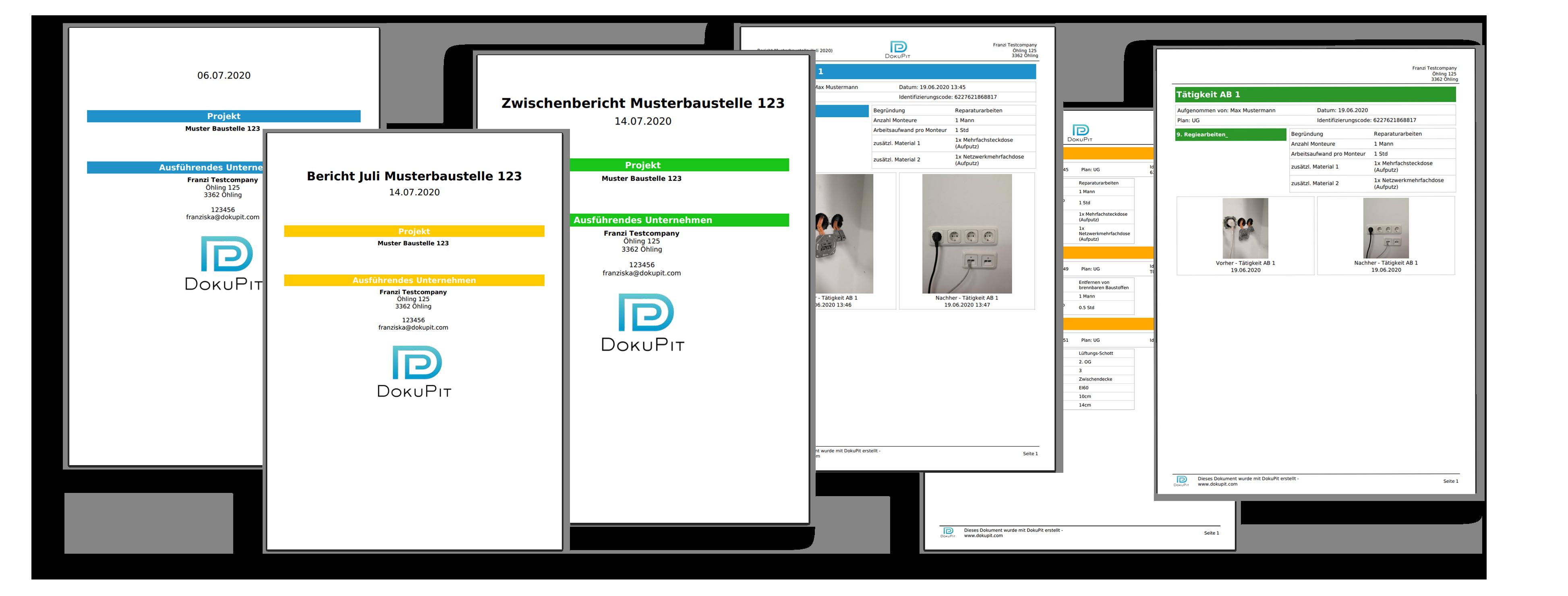 Verschiedene Berichte mit flexiblen Designs in DokuPit