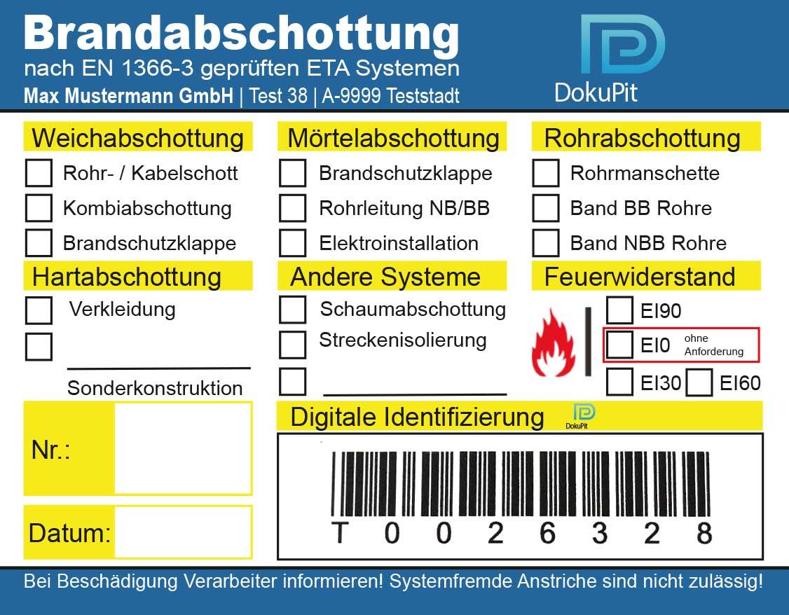 Kennzeichnungsschild Brandabschottung Muster 8