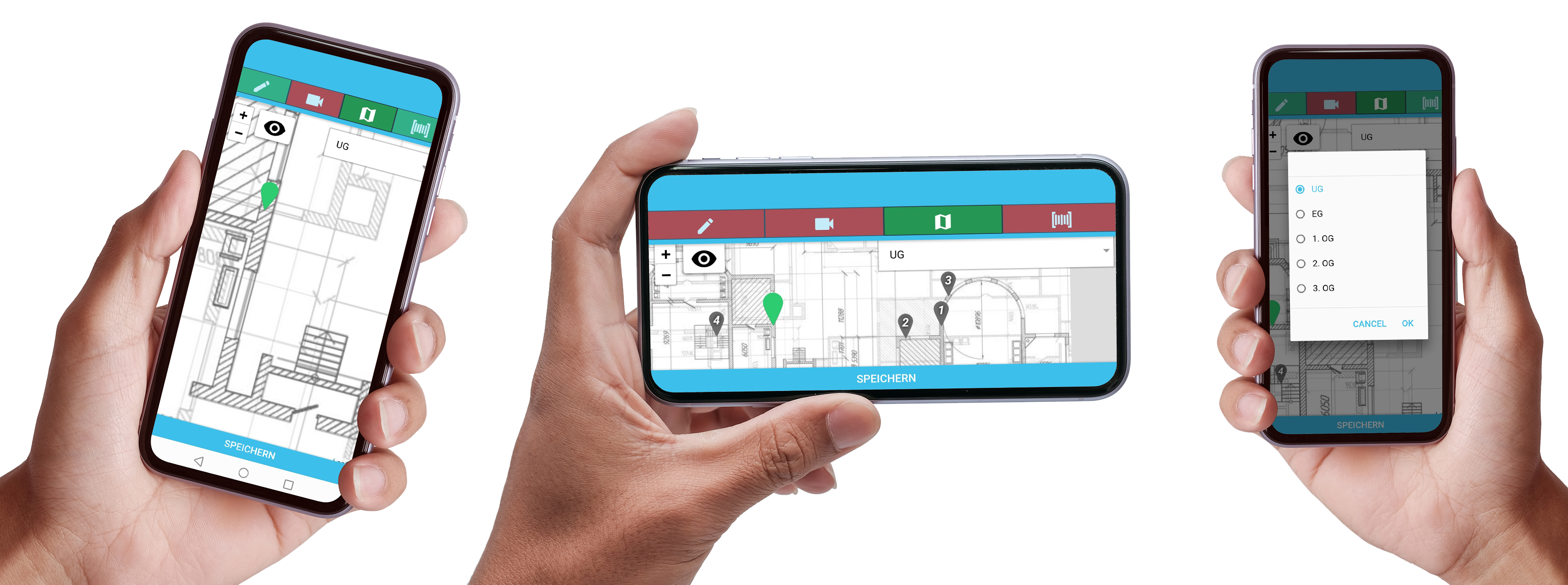 Mockup mit DokuPit Standorte von Tätigkeiten markieren