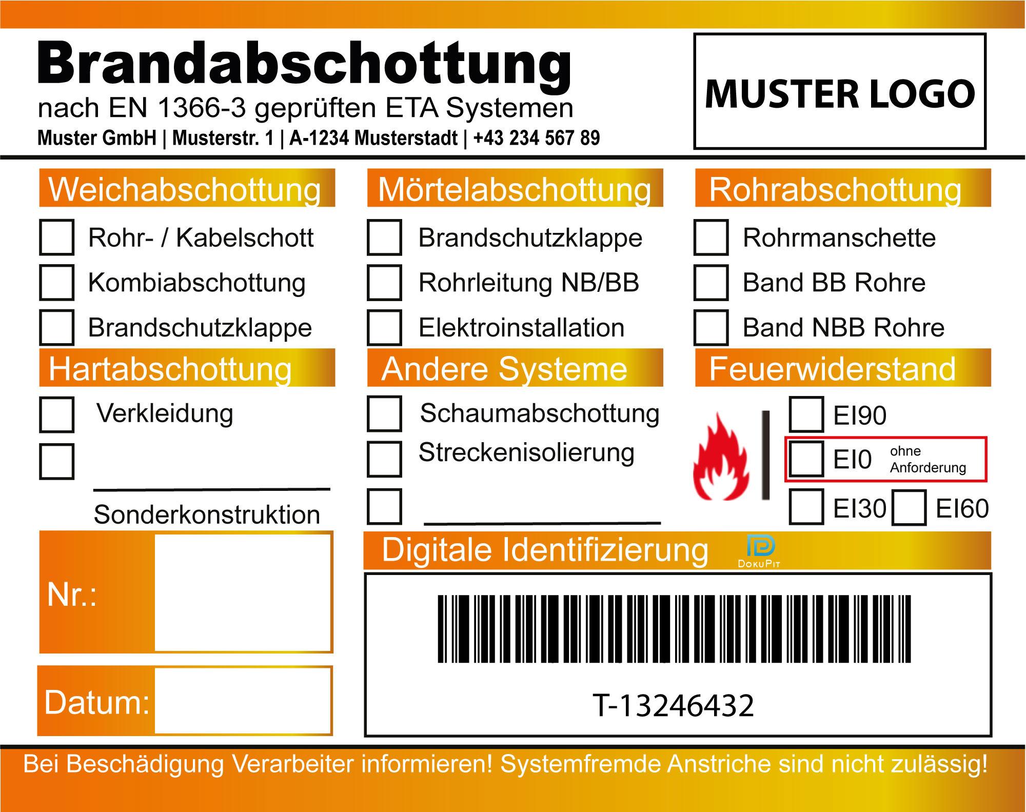 Kennzeichnungsschild Brandabschottung Muster 1
