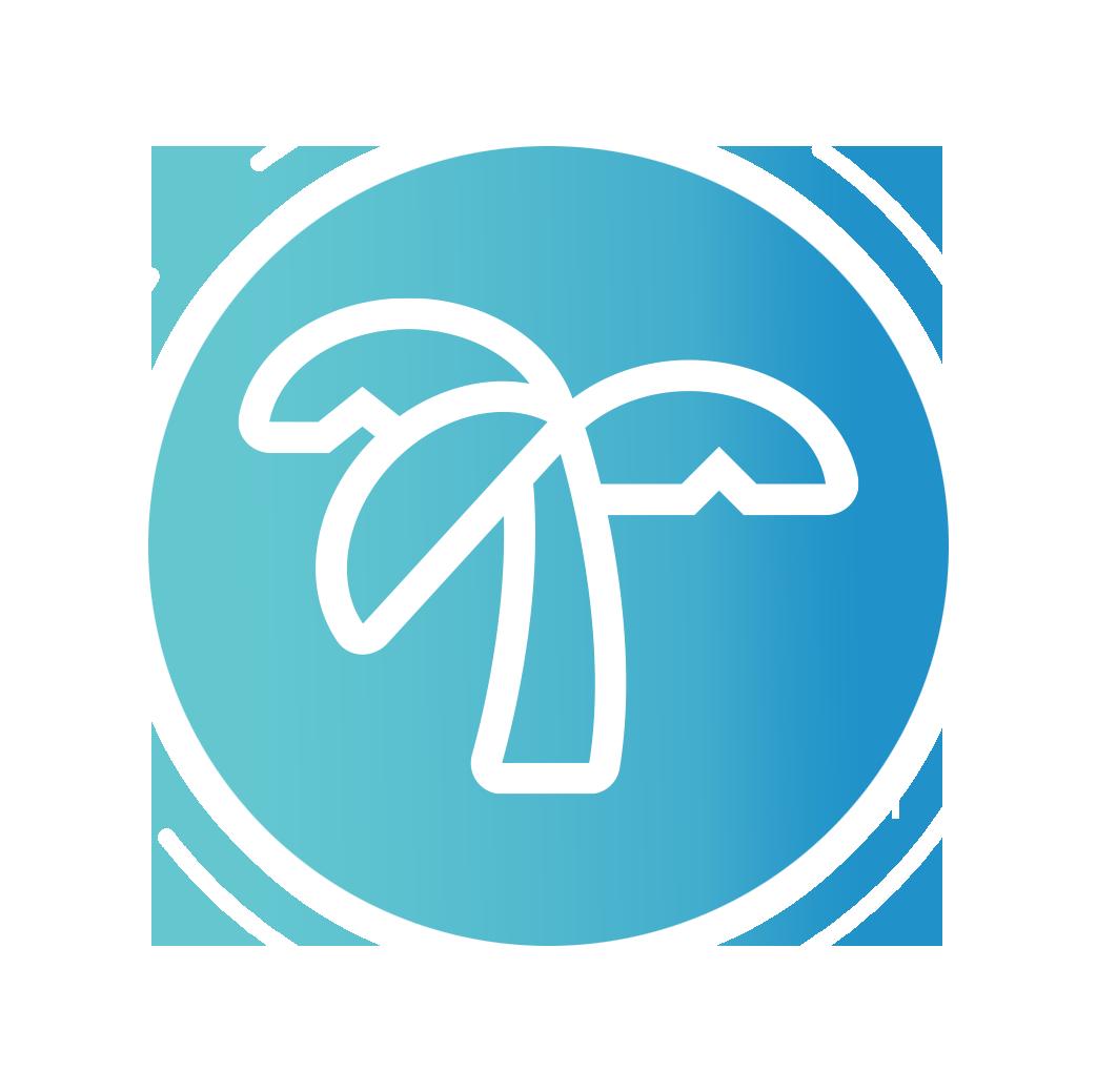 Palme und Urlaub Symbol